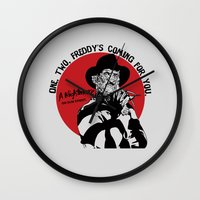 freddy krueger Wall Clocks featuring Freddy K quote by Buby87