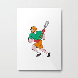 Lacrosse Player Crosse Stick Running Cartoon Metal Print