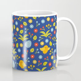 Easter Eggs and Yellow Baby Chick Pattern Coffee Mug