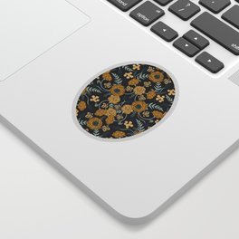 Navy Blue, Turquoise, Cream & Mustard Yellow Dark Floral Pattern Sticker