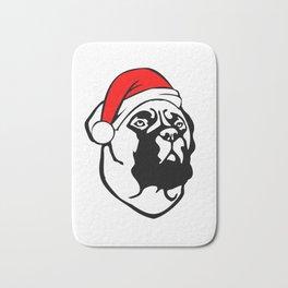 Bullmastiff Dog with Christmas Santa Hat Bath Mat