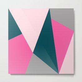 Pink & green geometric design Metal Print