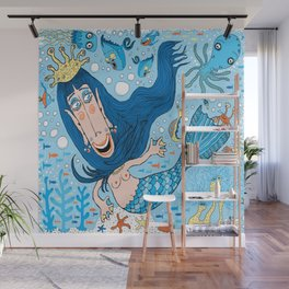 Quirky Mermaid with Sea Friends, Blue version Wall Mural