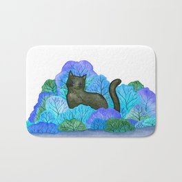 Blue Forest and Black Cat Watercolor Bath Mat