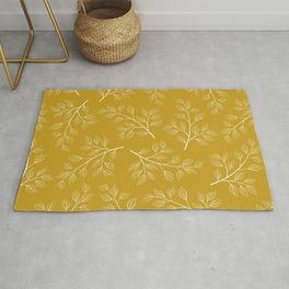 White Branch and Leaves on Mustard Yellow Rug