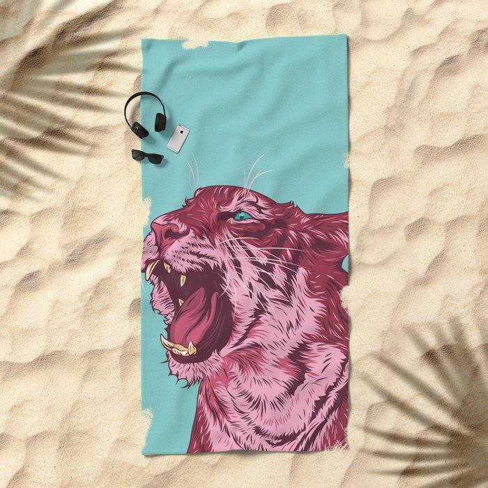 Magenta tiger Beach Towel