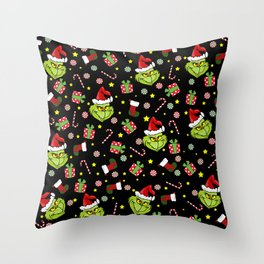 Grinch pattern Throw Pillow