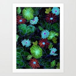Oriental blossom (night version) Art Print