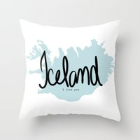 iceland Throw Pillows featuring Iceland love by Gabriela Fuente