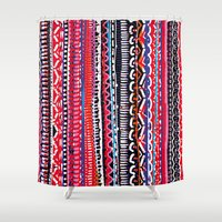 batik Shower Curtains featuring Batik Attack by RAMALAMA