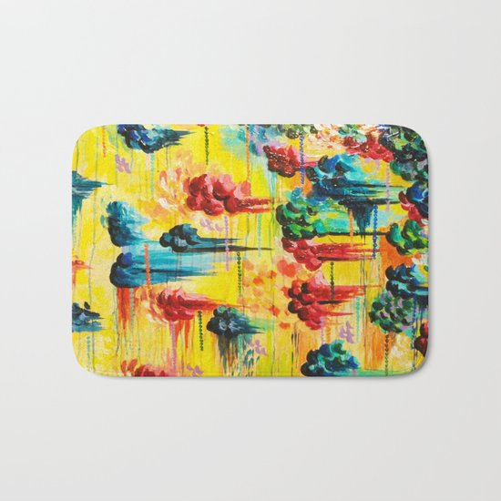 HERE COMES THE RAIN - Abstract Acrylic Painting Rain Storm Clouds Colorful Rainbow Modern Impasto Bath Mat