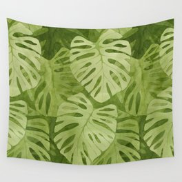 Watercolor Monstera Leaves Wall Tapestry
