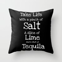 tequila Throw Pillows featuring Tequila by  Alexia Miles photography