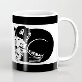 Black and White Sleeping Husky Coffee Mug