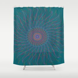Blue fire mandala Shower Curtain