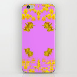 DECORATIVE MODERN PINK-DAFFODILS ART FLORAL iPhone Skin