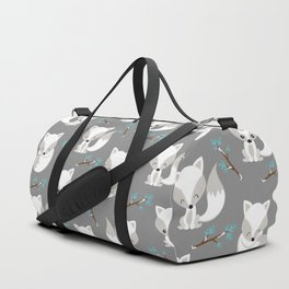 ARCTIC FOXES ON GREY Duffle Bag