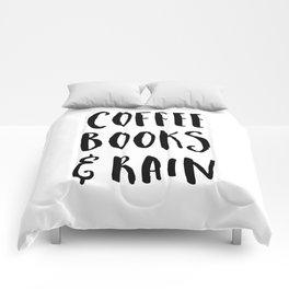 Coffee, Books & Rain Quote Comforters