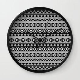 Aztec Essence Pattern II Black White Grey Wall Clock
