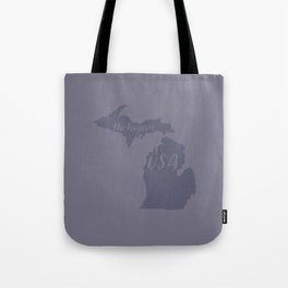 Michigan, USA Outline in Blue Tote Bag