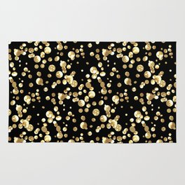 Golden confetti. Brilliant . Rug