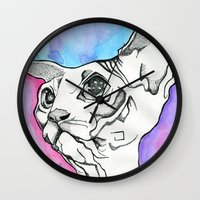 psych Wall Clocks featuring Psych Sphinx by Szilvia Lucas