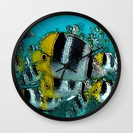 Tropical Fish Abstract Wall Clock