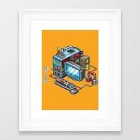 computer Framed Art Prints featuring 8bit computer by Sergey Kostik