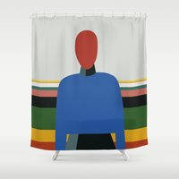 propaganda Shower Curtains featuring MANWOMAN by THE USUAL DESIGNERS