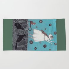 Between the Woods and Frozen Lake Beach Towel
