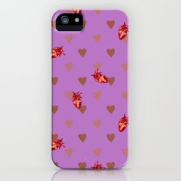 Purple Heart Pattern iPhone Case