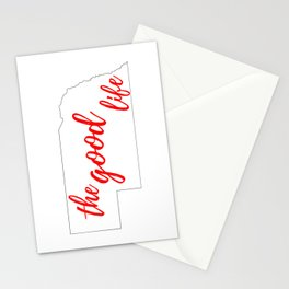 Nebraska - The Good Life - White and Red Stationery Cards