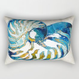 Beachy Art - Nautilus Shell Bleu - Sharon Cummings Rectangular Pillow