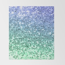 Glitter Sparkling Blue Green Turquoise Teal Throw Blanket