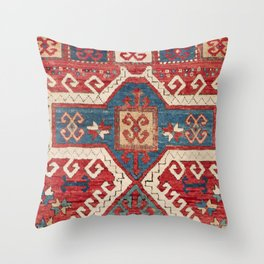 White Hooked Cartouche // 19th Century Authentic Colorful Southwestern Shape Accent Pattern Throw Pillow