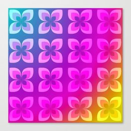 60's or 80's Neon Flowers Canvas Print