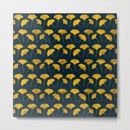 Yellow ginkgo leaves pattern Metal Print