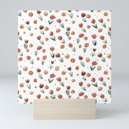 Watercolor tulips pattern - neutral Mini Art Print