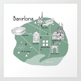Mapping Barcelona - Green Art Print