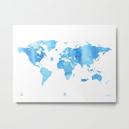Blue sky color World map adventure Metal Print