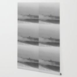 Black and white foggy landscape Wallpaper