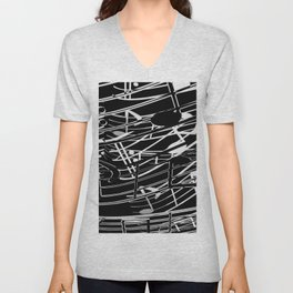music note sign abstract background in black and white Unisex V-Neck