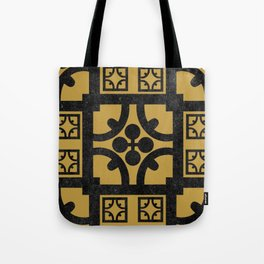 Traditional Yellow English Tudor Half-timbered House Pattern Tote Bag