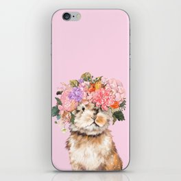 Rabbit with Flowers Crown iPhone Skin