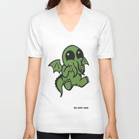 cthulu V-neck T-shirts featuring Cute Cthulu  by Nikki Hung