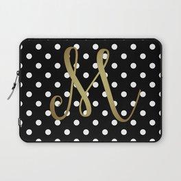 "Retro Black and White Polka Dot with Gold ""M"" Monogram Laptop Sleeve"