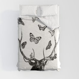 The Stag and Butterflies | Deer and Butterflies | Vintage Stag | Vintage Deer | Black and White | Comforters