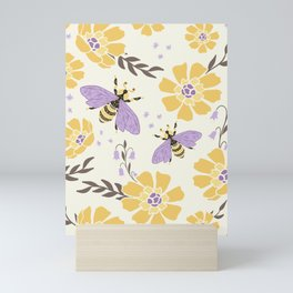 Honey Bees and Flowers - Yellow and Lavender Purple Mini Art Print