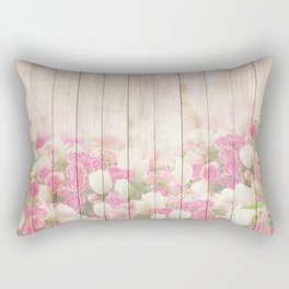 Beautiful Pink Tulip Floral Vintage Shabby Chic Rectangular Pillow