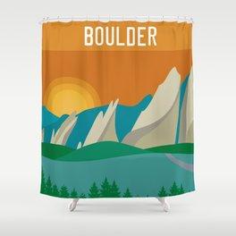 Boulder, Colorado - Skyline Illustration by Loose Petals Shower Curtain